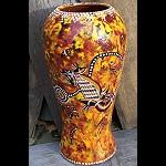 Ton Vase mit Aborigines Malerei 36cm
