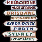 4er Set Hinweisschilder Städte Australien