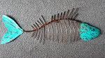 30x metal fish green patina 60cm