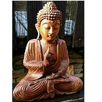 Buddha aus Teak Holz handgefertigt 28cm