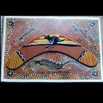 Bild mit Holz Bumerang aufgeklebt 20cm