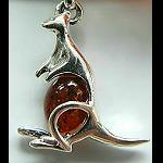 Anhänger Känguru +Bernstein 925er Silber
