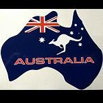 Aufkleber Landkarte Australien + Flagge