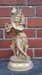 Statue Krishna Messing vergoldet ca. 30 cm