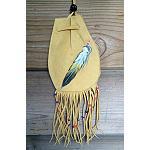 Indianer Lederbeutel  handbemalt, 13x8cm