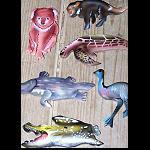 Magnet, Holz Tiere 6er Set ca 8cm
