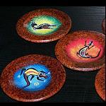 4 Untersetzer Teller Schale aus Ton bemalt