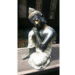 Buddha Poly sitzend Antik Look 17cm