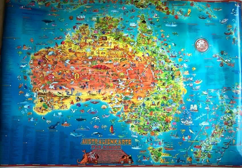 poster landkarte kinder australien 136cm kaufen im australien versand shop. Black Bedroom Furniture Sets. Home Design Ideas
