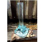 Wurzelholz Glasvase mundgeblasen 36x20cm