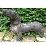 Stein Garten Dackel Figur 45cm