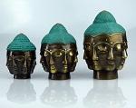 Buddha Kopf, 7 Gesichter bronze ca.16cm