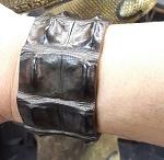 Leder Armband Krokodil braun
