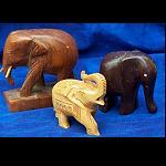 3 Elefanten Afrika Holz handgeschnitz 7cm