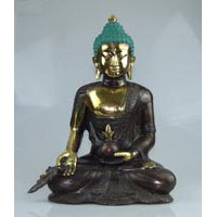 5x bronze buddha with leaf 38cm