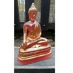 Buddha Figur Resin Rötlich 19,5 cm