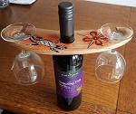 SET Wein + Glas  Halter Holz handbemalt