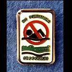 Krokodil Warnschild Pin