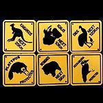 6er Straßenschilder Set pvc 9cm  Tiere