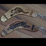 Schlüsselanhänger Bumerang Holz 10cm