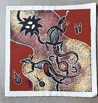 orig Bild aus Australien, Leinen 23x22cm