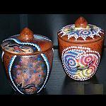 Dose + Deckel aus Ton handbemalt 12cm
