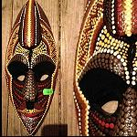 Maske, Dotpaint, Holz,  30cm