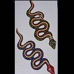 kleine Holzschlange dotpaint malerei 25cm
