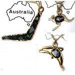Gold Kette Australien Motive mit Opalstückchen