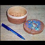 handbemalte Holzschachtel rund