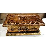 goldene Holzkiste Kiste Schatztruhe 20cm