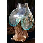 Wurzelholz Glasvase mundgeblasen 44cm
