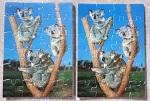 2 Postkarten Koala mit Puzzle