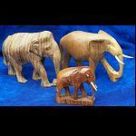 3 Elefanten Afrika Holz handgeschnitz 9cm