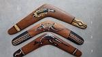 Antik Bumerang Aborigines Bemalung ca 36cm