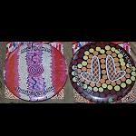 2x  Button Anstecknadel Aborigines Malerei
