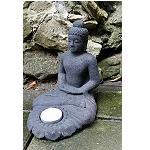 Buddha Figur Stein Guss 17 cm