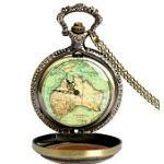 Vintage-Stil Taschenuhr mit Landkarte