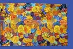 Stoffdruck Tuch Aborigines Malerei 74x47cm