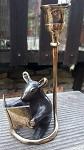 Bronze Maus Kerze und Buch 15cm