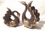 Schwanenpaar Bronze 13 u. 8,5 cm