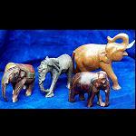 3 Elefanten Afrika Holz handgeschnitz 11cm