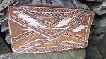 Antike Aboriginesmalerei auf Holz 31cm