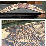 Jagdbumerang Antik Meerestiere  60cm