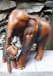 27cm Elefant Afrika Holz handgeschnitz