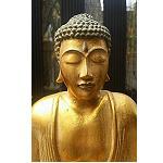 Buddha sitzend Figur Tonart gold 24cm