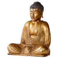 Buddha Gold, 20 cm Fiberglas mit Blattgold
