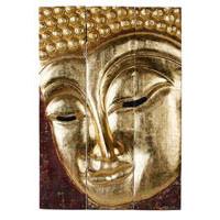Buddha - Triptychon Buddha Gesicht, 95 cm