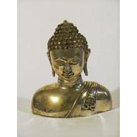 Buddhabüste Bronze versilbert 25cm