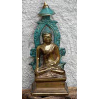 Buddha Bronze unter Baldachin 14 cm